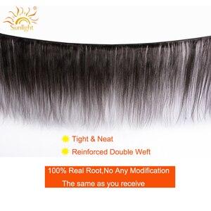 Image 2 - Luz solar brasileiro feixes de cabelo reto com fechamento 5x5 fechamento do laço com 3 pacotes 4 pçs remy feixes de cabelo humano com fechamento