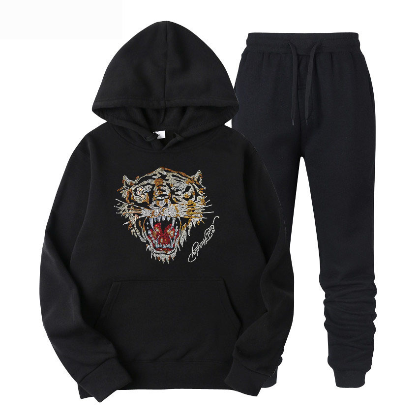 Men Blings Beads Sequins Leopard Hooded Full TrackSuit Sport Jacket Coat Sweats Bottom Top Suit Trousers Pants Set Outfit