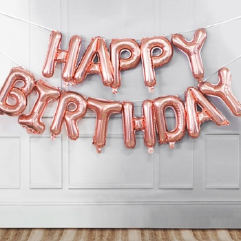 16inch Globos Birthday Balloon Decoration Rose Gold Happy Birthday Foil Balloons Set Party Banner Kids Supplies 1