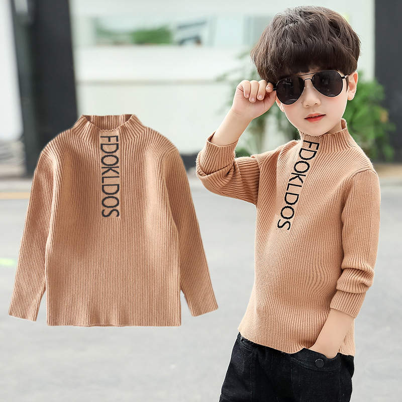 New Leisure Boys Sweaters Children Clothes Autumn Boy Letter Printed Cotton Knit Sweater Coat Kids Pullovers Together 3-14Year