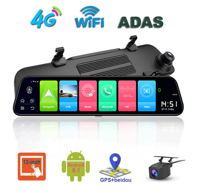 "12"" 4G Touch Screen Car Dash Camera Recorder Rearview DVR Mirror Full HD 1080P Android 8.1 Wifi GPS Navigation Mirror Video Cam 1"