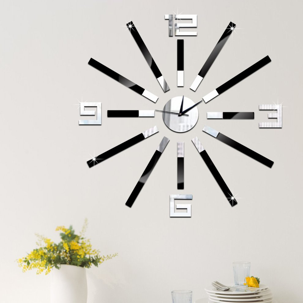 GZ035diy Creative Home Wall Clock Study Bedroom Living Room Wall Mute Wall Clock