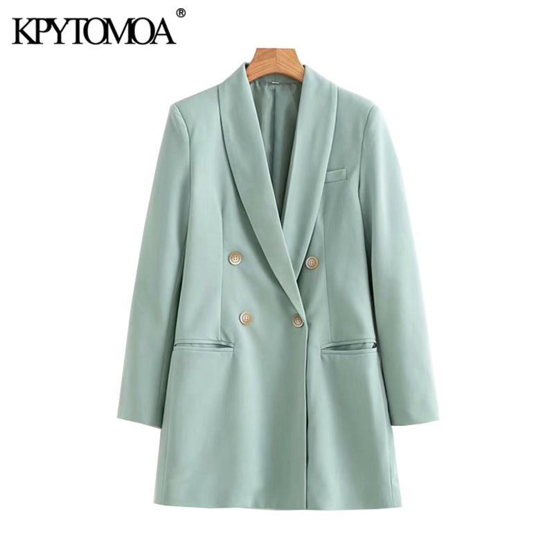 KPYTOMOA Women Fashion Office Wear Double Breasted Blazers Coat Vintage Long Sleeve Loose Fitting Female Outerwear Chic Tops