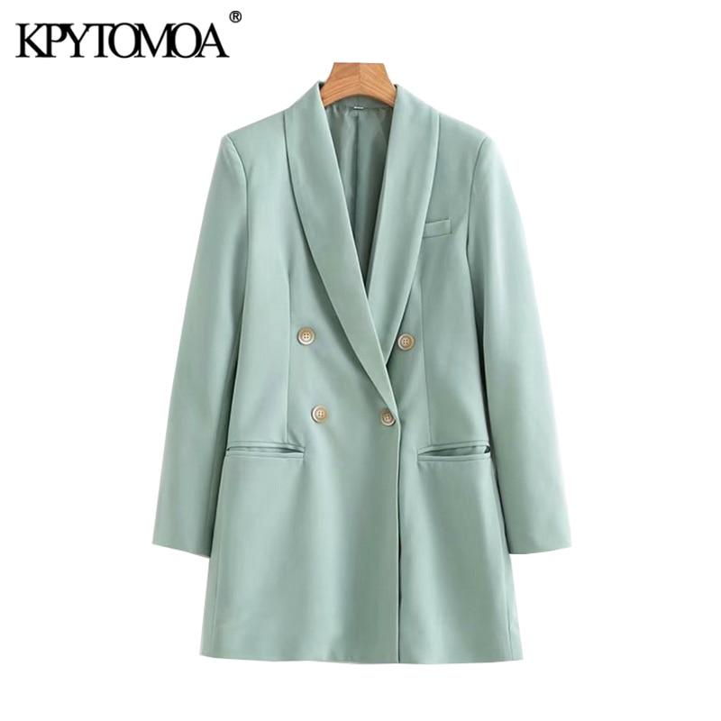 KPYTOMOA Women Fashion Office Wear Double Breasted Blazers Coat Vintage Long Sleeve Loose Fitting Female Outerwear Chic Tops