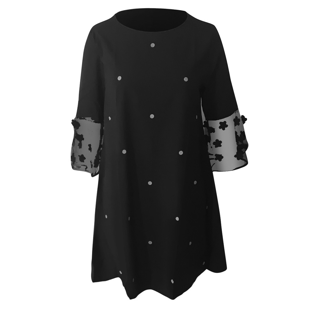 vestido de mujer Fashion Women Sexy Wave Solid Point O-Neck Spliced Hollow Out Long Sleeve Dress femme robe платье 2021