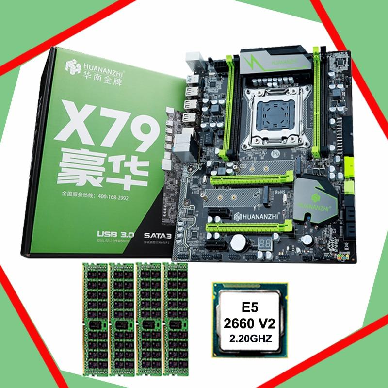 2018 vente chaude marque HUANAN ZHI X79 LGA2011 carte mère avec M.2 slot CPU Xeon E5 2660 V2 SR1AB 2.2GHz RAM 16G (4*4G) DDR3 REG ECC
