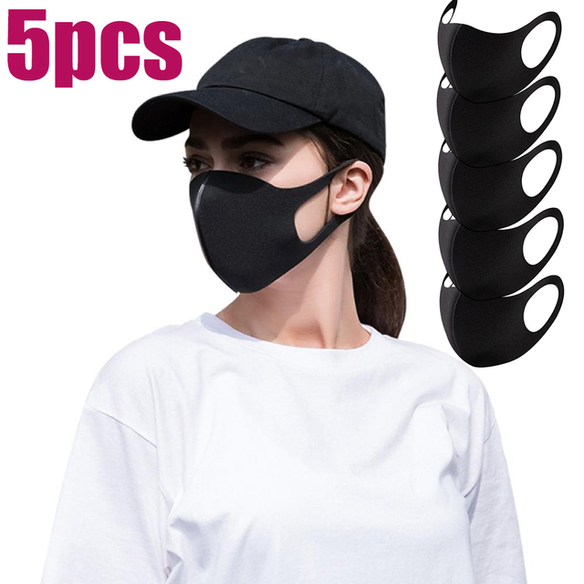 5Pcs Anti Dust Black Fashion Face Mouth Mask Filter Windproof Mouth-muffle Bacteria Proof Flu Face Masks Care Reusable Washable