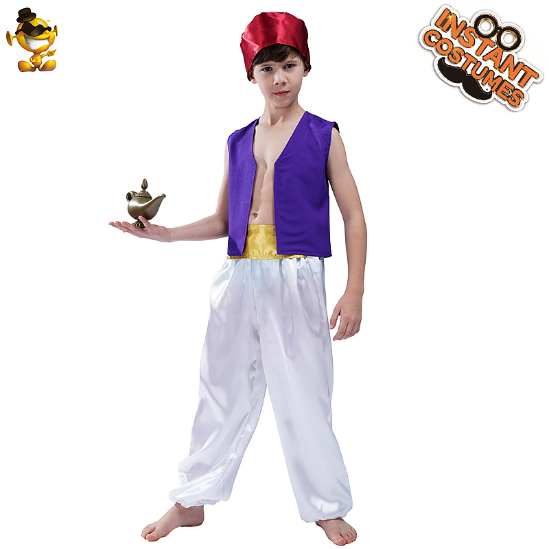 New Arrival Kids Boy's Aladdin Costumes Masquerade Halloween&Christmas Party Cosplay Arabian Costumes For Kids Boy