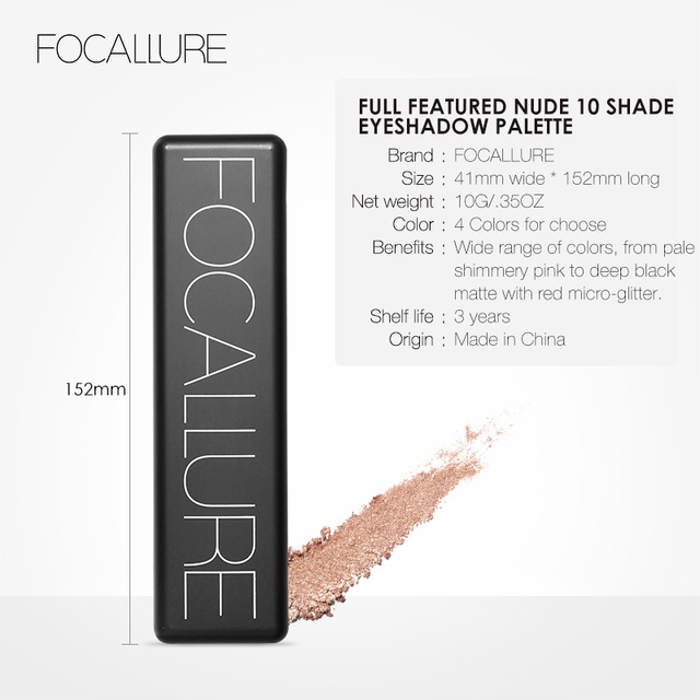 FOCALLURE New Pro 10 Colors Set Women Waterproof Makeup Eyeshadow Palette Eyebrow Eye Shadow Powder Cosmetic with Brush 5