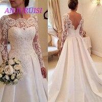 ANJURUISI Scoop Neck Long Sleeves Wedding Dress Lace Appliques Court Train Open Back Sexy Bridal Gowns Satin Vestido De Noiva