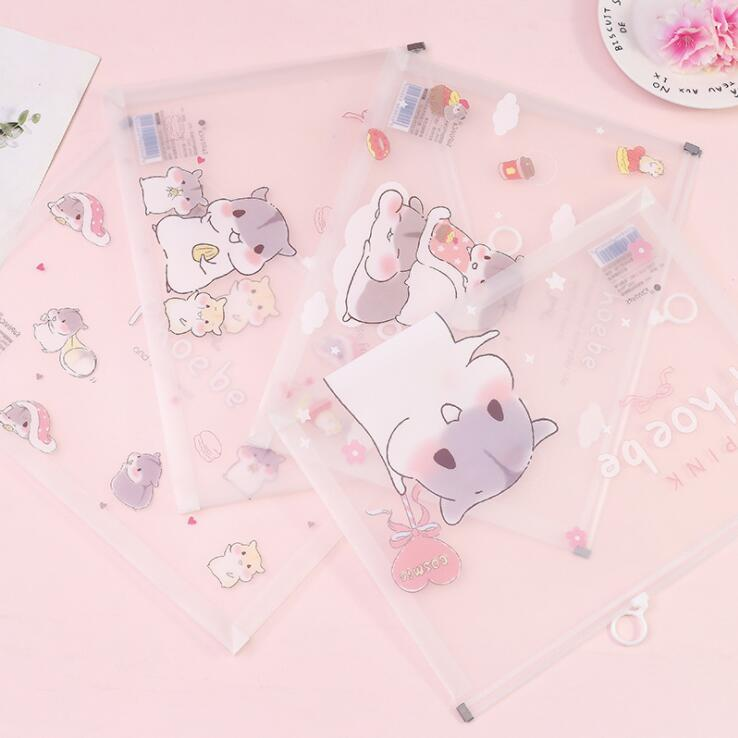 1PC Kawaii Creative Peter Mouse  A4 PP Zipper File Folder Bag Document Paper Organizer Storage Bags School Office Stationery