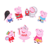 100pcs/lot Pink Embroidery Patches Cute Animal Pigs Cartoon Clothing Accessories Heat Transfer Badge Iron Clothes