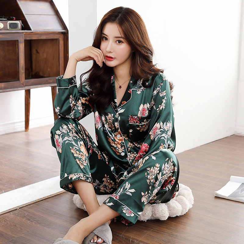 Spring Women Pajamas Faux Silk Sleepwear Satin Pajamas Set Long Sleeves Flower Print  2 Piece Homewear Summer Pajama New 2020