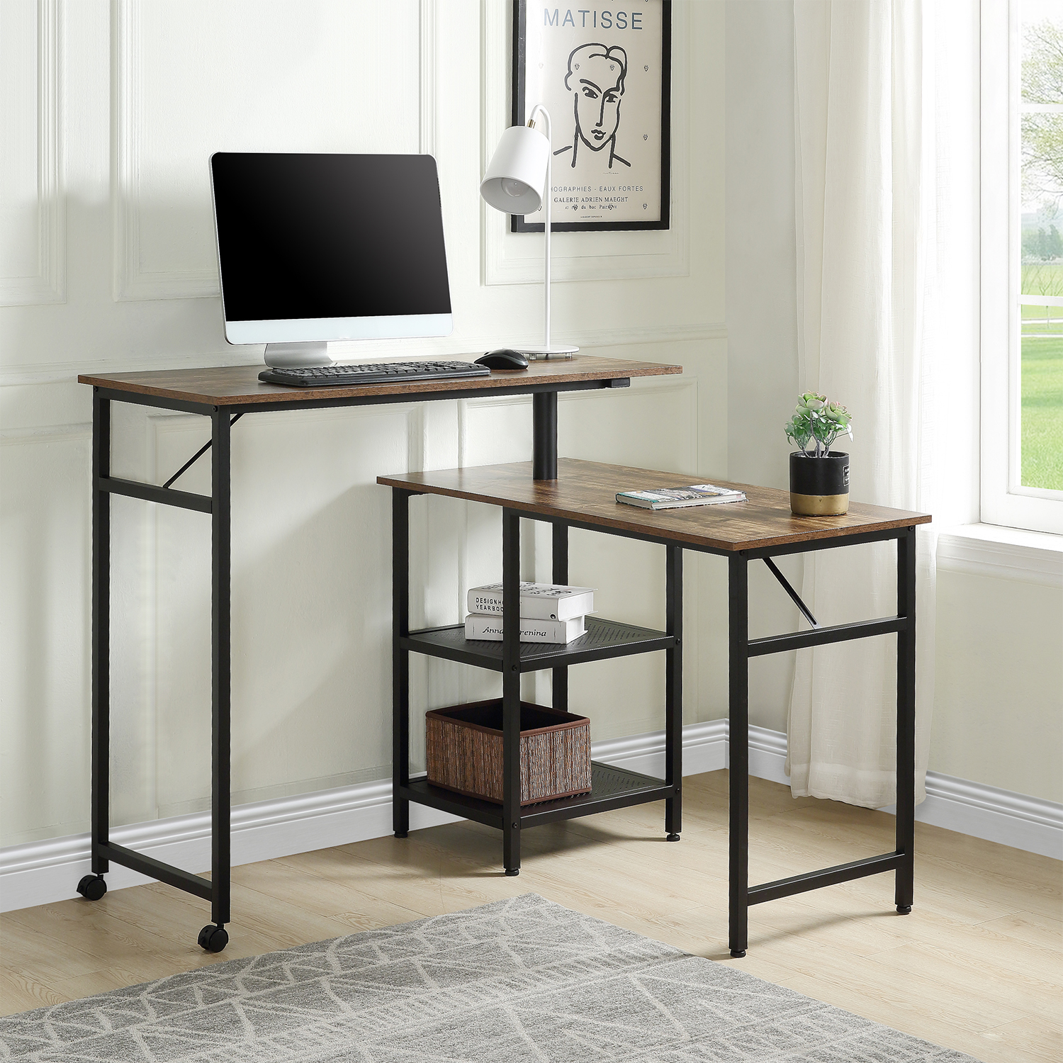 Home Office Furnitures L Shaped Computer Desk Industrial 360 Degres Free Rotating Office Desk Study Table With Storage Shelf Leather Bag