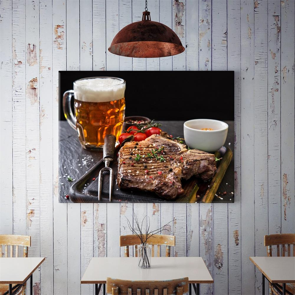 50x70cm Western Restaurant Food Canvas Painting Modern Beer Steak Poster Modular Picture Wall Art Prints for Kitchen Dining Room image
