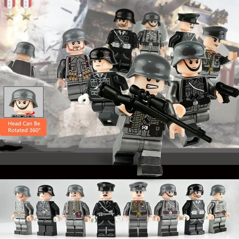 8pcs Soldier Figures Building Blocks Bricks Toys For Children Assemble Block Figure Birthday Gifts For Children Kids Home Game