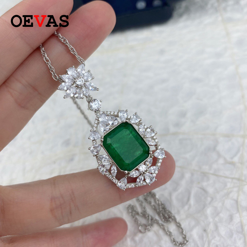 OEVAS 100% 925 Sterling Silver Pendant Necklace For Women Spaerking Emerald Created Moissanite Gemstone Girls Party Fine Jewelry