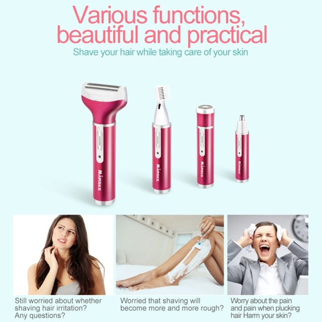 Multifunctional 4 in 1 Hair Remover Electric Epilator Hair Shaver Painless Portable USB Epilator Nose Beard Eyebrow Trimmer 2