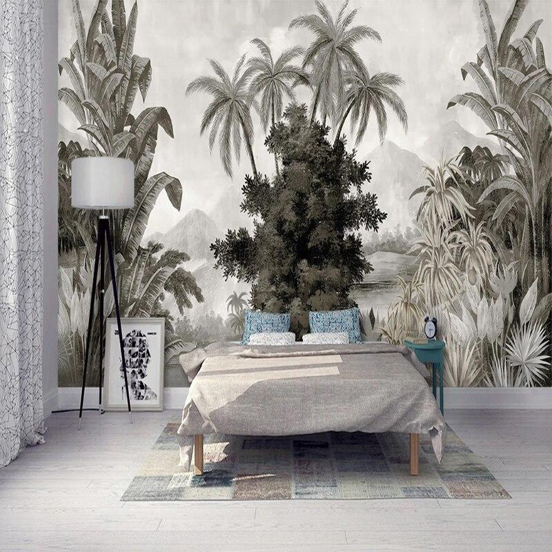 Custom Mural Wallpaper European Style Retro Hand painted Banana Coconut Trees Leaves Fresco Living Room TV Sofa Bedroom 3D MuralWallpapers   -