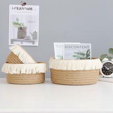 Seagrass Basket Toys Organizer Jute Wicker Cosmetic Desktop for Storage-Box Gift