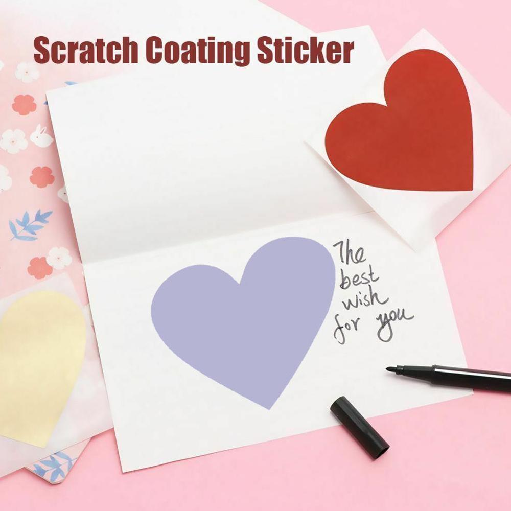 10pcs/lot NEW Cute Heart Design Scratch Coating Sticker DIY Note Sticker Decoration Label Multifunction