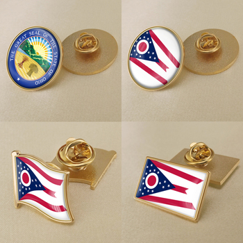 Seal of Ohio State of United States of America Flag Lapel Pins/Broochs/Badges image