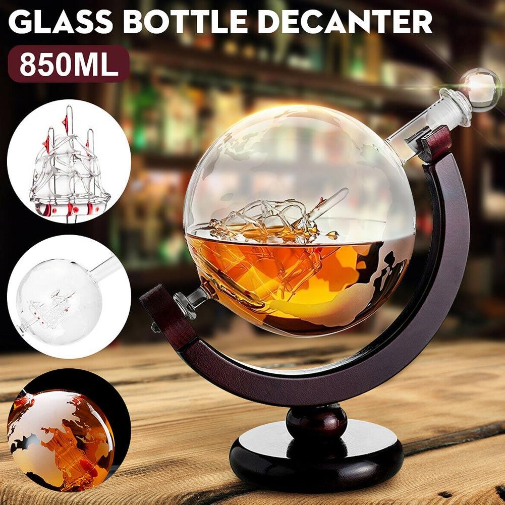 Inciso Globe Design Decanter 850ml Whisky Wine Decanter con Cornice In Legno per la Casa Bar DAG-la nave