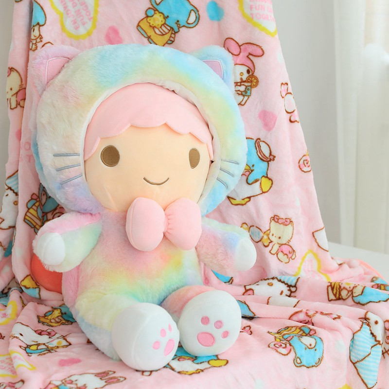New 60cm Sweet Cat Plush Toy with Blanket Soft Stuffed Cartoon Animal Doll Home Decoration Nap Pillow Cushion Girl Birthday Gift in Stuffed Plush Animals from Toys Hobbies