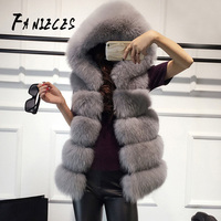 High quality Fur Vest coat Luxury Faux Fox Warm Women Coat Vests with hood Winter Fashion furs Female Coats Jacket Gilet Veste