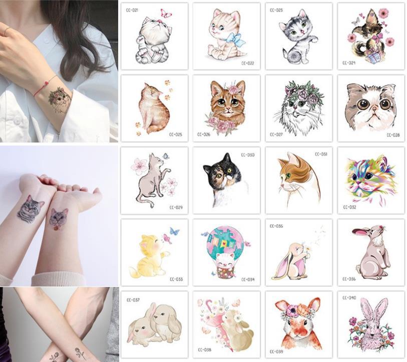 20 teile/satz Temporäre Tattoo Aufkleber Nette Haustier Katze Tatto Wasserdichte Gefälschte Tattoo Transfer Tattoos Body Art Tatoo Für Mädchen Frauen kinder