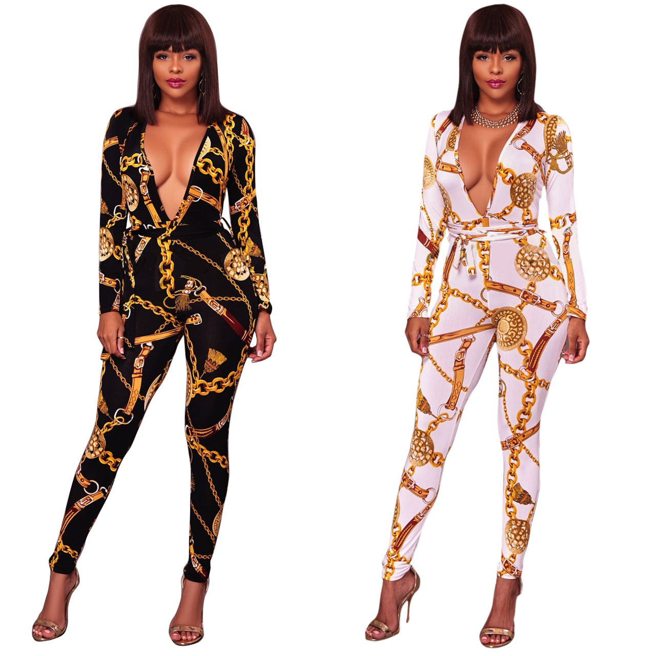 M672 Separate Station Europe And America Hot Selling Fashion Chain Printed Retro V-neck Long Sleeve Onesie