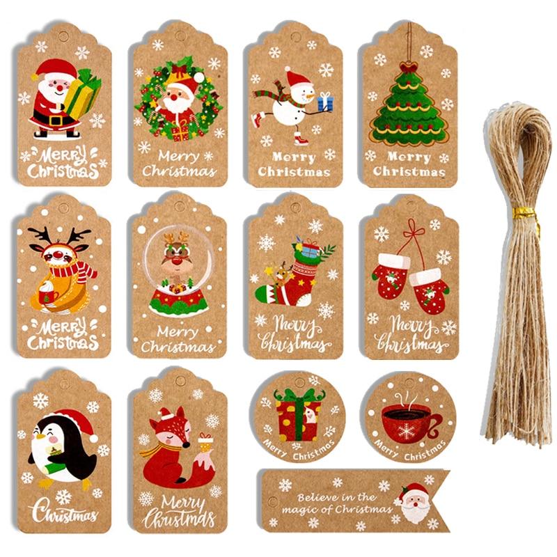 48/50Pcs Merry Christmas Kraft Paper Tags DIY Handmade Gift Wrapping Paper Labels Santa Claus Hang Tag Ornaments New Year Decor