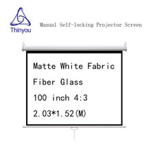 Thinyou Manual self-locking 100 inch 4:3 Projector Screen Matte White Fabric Fiber Glass Wall Mount Pull Down For Cinema Office