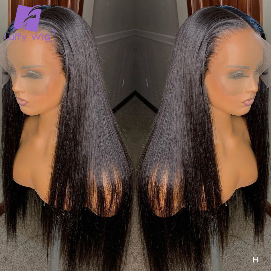 Full Lace Human Hair Wigs Brown And Natural Color Pre Plucked Remy Brazilian Straight Hair With Baby Hair Bleached Knots LUFFY