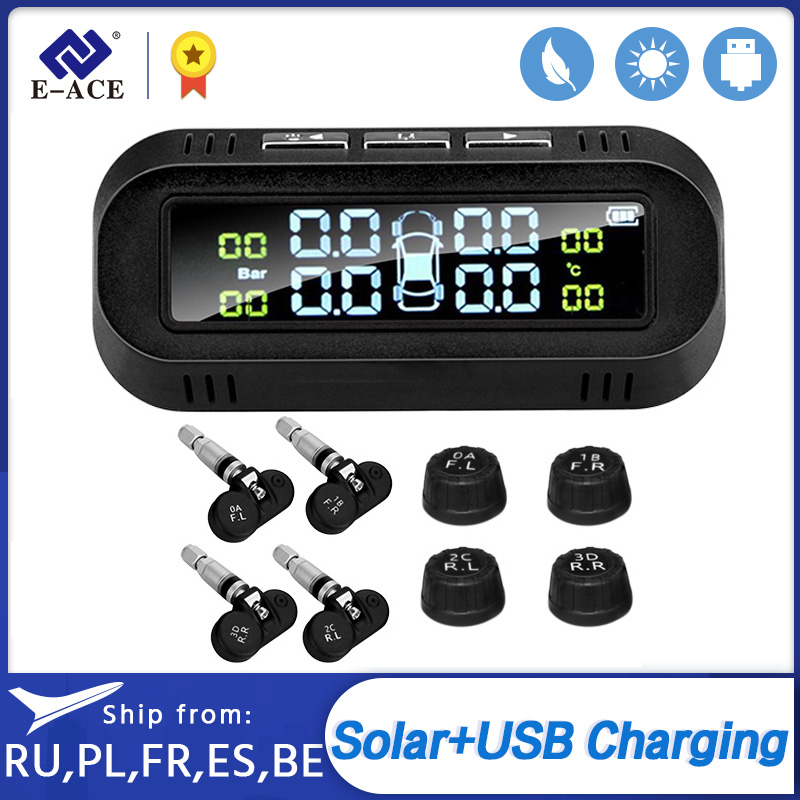 E-ACE Solar TPMS Car Tire Pressure Alarm Monitor System Display Temperature Warning Smart Tyre Pressure with 4 sensors Device