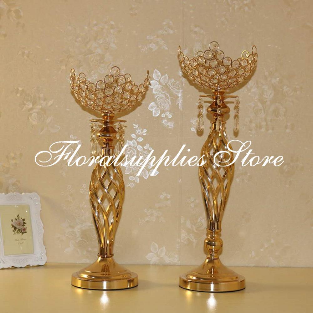 2019 nouveau bougeoir de mariage pièce maîtresse décoration or métal chandelier 49cm 55cm de haut mariage fête faveurs