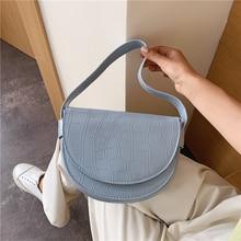 Fashionable High Quality Half Moon PU Leather Crossbody Bags For Women Design Stone Pattern Shoulder Handbags Women Bag ZM0576 fashionable color block and leaf pattern design satchel for women