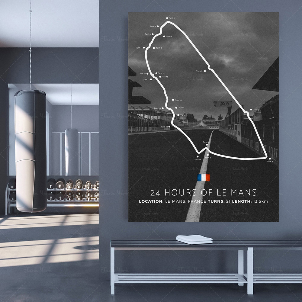 Quadro de lona moderno cartaz gigante 24h le mans circuit
