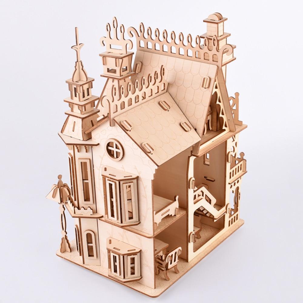Villa Woodcraft Construction Kit Woodcraft Villa DIY 3D Wooden Villa Puzzle Wooden Puzzle Game Assembly Toy Gift For Children