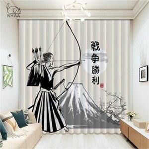 Японские шторы в виде маски самурая, современные затемняющие окна для детей, спальни, гостиной, отеля, ультратонкие микрозатемненные шторы