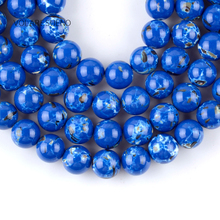 Natural Dark Blue Shell Turquoises Stone Round Loose Beads For Jewelry Making 4-12mm Spacer Beads Fit Diy Bracelets 15'' цена