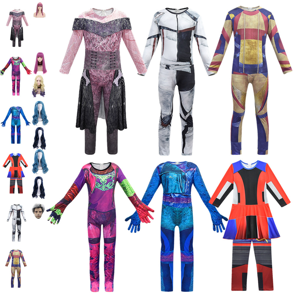 Kids/women Costume For Cosplay Descendants 3 Evie Mal Audrey Jay Carlos Costumes Zentai Funny Party Halloween 3D Boys Jumpsuits