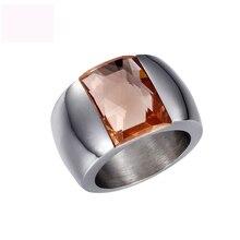 цена High Quality Titanium Steel Rings Color Crystal Jewel Fashion Jewelry Ring For Women Anniversary Wedding Engagement Party Gifts онлайн в 2017 году