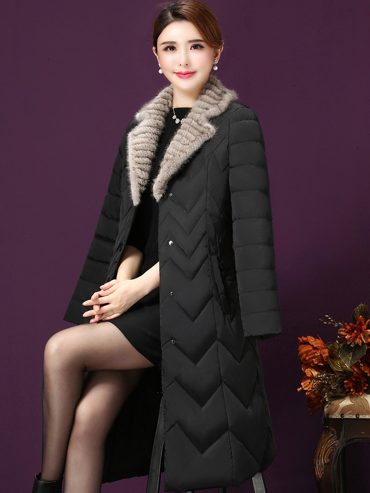 Down Women's Long Jacket Light Duck Down Coat Winter Real Mink Fur Collar Autumn Puffer Jacket 2020 X7701 KJ3482
