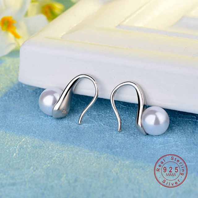 Simple Silver Colors Big Clear Pearl Earrings Simple Round White Pearl Earrings Jewelry Classic Earrings For Women Elegant Gifts