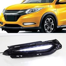 цена на 1 set For Honda HRV HR-V 2014 2015 2016 2017 2018 Car-styling LED Daytime Running Fog Lights DRL With Turn Signals Yellow