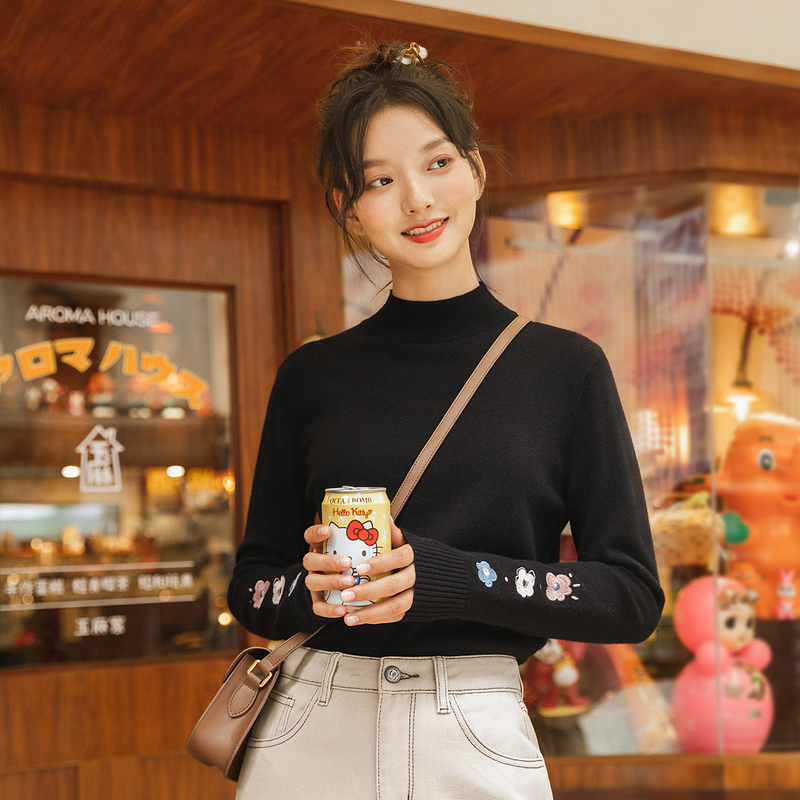 INMAN Winter Woolen Tops Rib Small High Collar Colorful Embroidery Lovely Versatile Pullover Women's Sweater