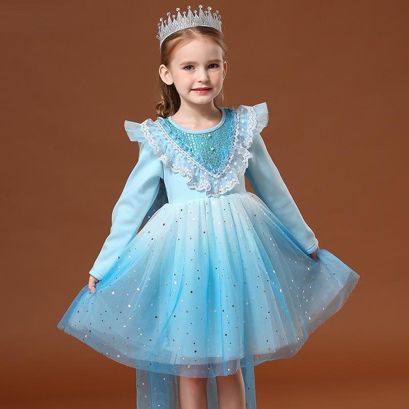 Disney série Animation fille robe d'hiver plus velours épais maille gaze moelleux princesse jupe robe jupe