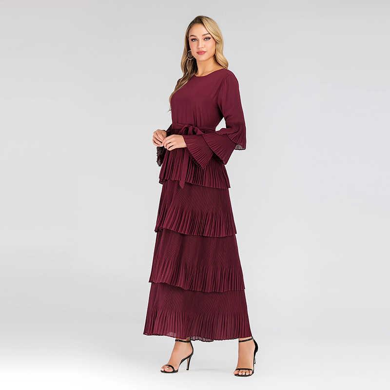 Plus rozmiar 2019 jesień zima czerwony plisowana sukienka z lamówką kobiety Sukienki Ropa Mujer szata Longue Femme Elbise panie Sukienki Vestidos