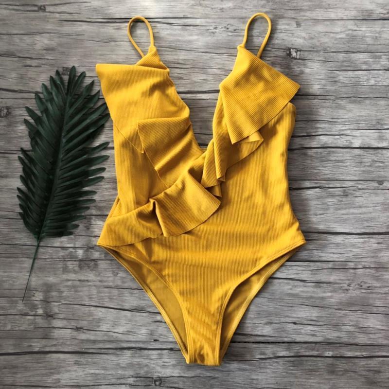 TITAME, спортивный купальник, сдельный, с глубоким вырезом, с оборками, купальник для женщин, без проволоки, пляжная одежда, летние купальники м... 20